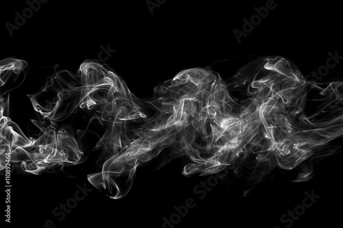Fotobehang Rook White smoke, isolated on black background.