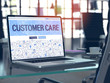Customer Care Concept Closeup on Landing Page of Laptop Screen in Modern Office Workplace. Toned Image with Selective Focus. 3D Render.