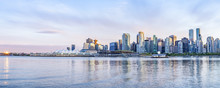 Vancouver Skyline At Sunset Panoramic View