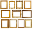 canvas print picture - gold frames. Isolated over white