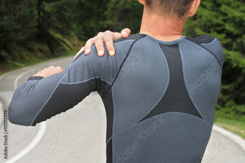 Fototapeta Sport injury, Man with shoulder pain obraz