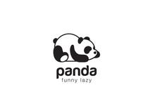 Panda Bear Silhouette Logo Des...