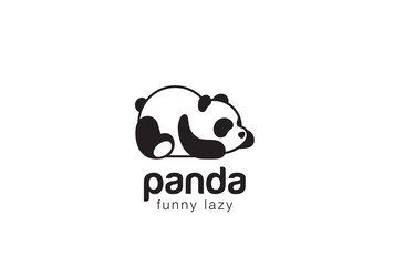 FototapetaPanda bear silhouette Logo design vector template...Funny Lazy animal Logotype concept icon.