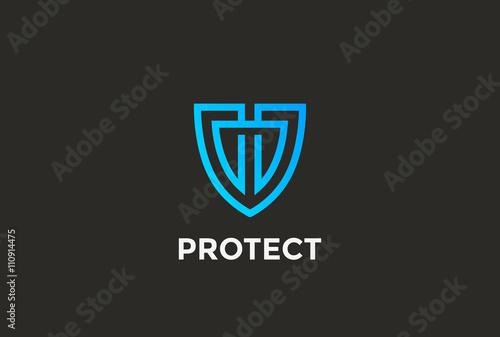 Fotografie, Obraz  Security Agency Shield Logo design vector template linear style