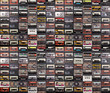 canvas print picture - Huge collection of audio cassettes. Retro musical background