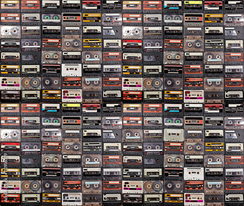 Stampa su Tela Huge collection of audio cassettes. Retro musical background