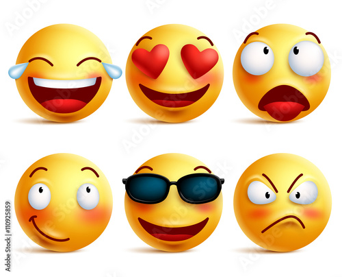 Photo  Smiley face icons or yellow emoticons with emotional funny faces in glossy 3D realistic isolated in white background