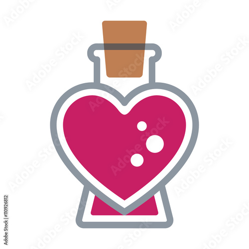Pink color Love / seduction potion flat icon for apps and