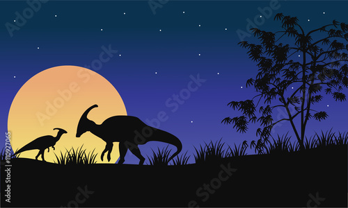 At night parasaurolophus silhouette with moon Canvas Print