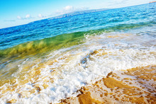 Colourful Backwash On Sea Shore