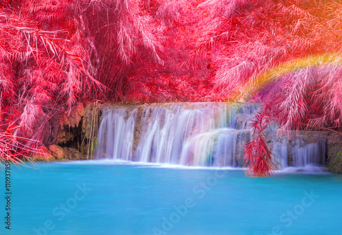 Keuken foto achterwand Candy roze Waterfall in rain forest (Tat Kuang Si Waterfalls at Luang praba