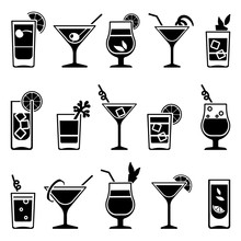Cocktails And Drinks Vector Bl...