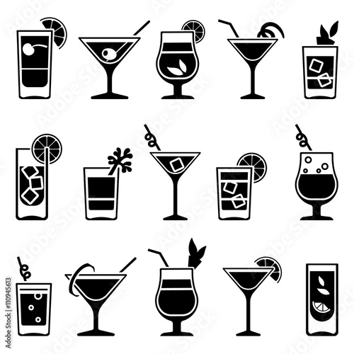 Obraz na plátne Cocktails and drinks vector black icons