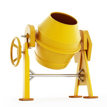 Yellow Concrete Mixer. 3D Illustration