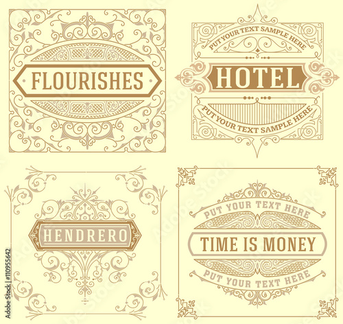 Fototapeta Set of Vintage cards. vector template. obraz na płótnie
