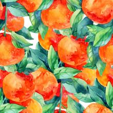 Watercolor Mandarine Orange Fruit Branch With Leaves Seamless Pattern