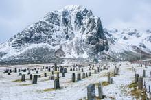 Cemetery In Snow, Reine, Lofoten, Norway
