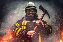 Rescue Firefighter Man In Oxygen Mask.