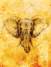 Elephant With Floral Ornament, Pencil Drawing On Paper. Sepia Color.