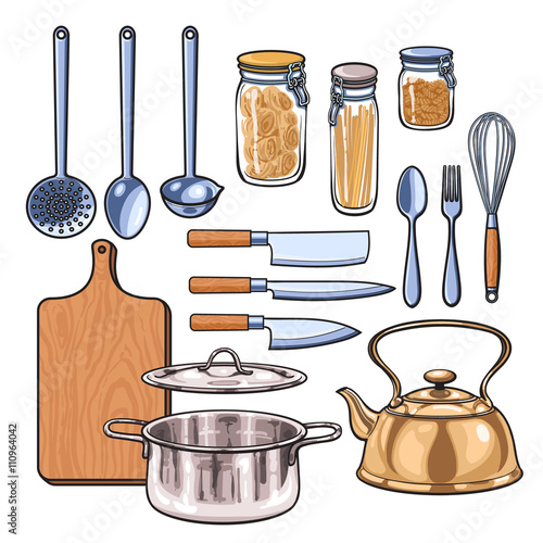 Fotomural Kitchenware, vector sketch drawn by hand, items in the kitchen kettle ladle knif