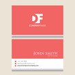 DF Logo | Business Card Template | Vector Graphic Branding Letter Element | White Background Abstract Design Colorful Object