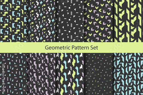 Fototapeten Künstlich Abstract geometric shapes dark pattern set. Vintage geometry inspired seamless pack lilac, green and blue on dark.
