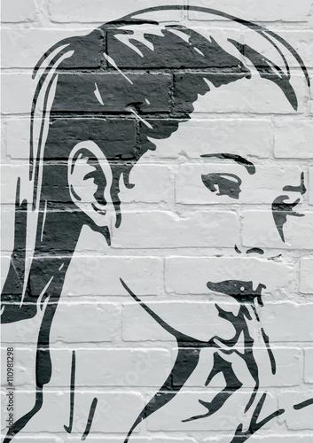 Fotografia  Art urbain, portrait d'une jeune femme