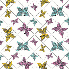 Fototapeta Floral seamless pattern in retro style, cute cartoon butterflies white background
