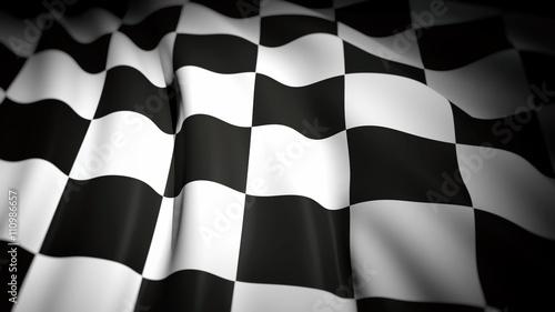 Foto op Plexiglas F1 3D rendering of wavy checkered flag, closeup background
