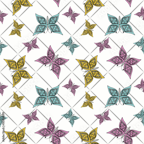 Floral seamless pattern in retro style, cute cartoon butterflies white background - 110986699