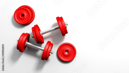 Fototapeta 3D rendering of adjustable metallic red dumbbells, on white background with copy-space obraz