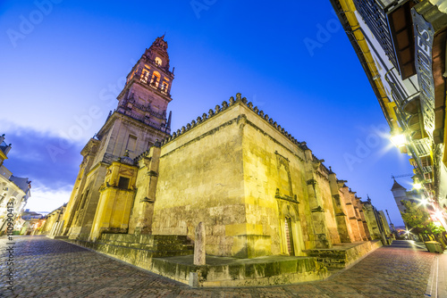 Staande foto Monument Wide view over the ancient mosque architecture of Cordoba - Andalusia, illuminated at night, Spain