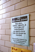 Sign Posted On Campus Of Primary School In Atlanta, Georgia, To Make Students Aware That Bullying Behavior Would Not Be Tolerated