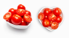 Cherry Tomato  In A Heart Shaped Bowl, Isolated On White