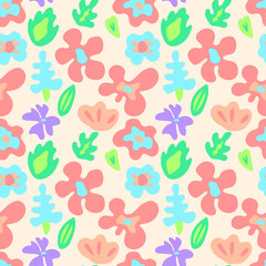 Large colorful flowers on black seamless pattern, vector