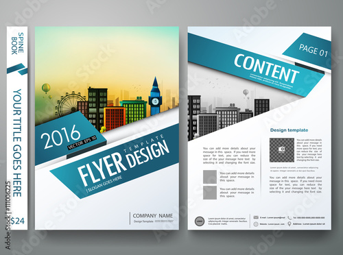 Brochure Design Template Vector Flyers Annual Report Business - Annual report design templates 2016