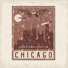 Old Style Grunge Vintage Retro Poster With Chicago Illinois USA