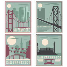 Old Style Vintage Retro Posters With San Francisco Landmarks