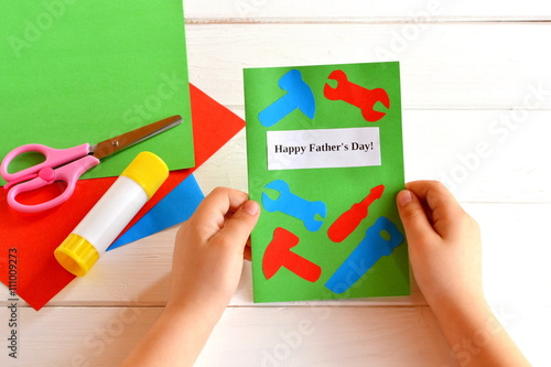 Child Holds Greeting Card In His Hands Happy Fathers Day
