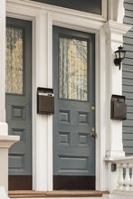 Front Door, Gray With White Trim