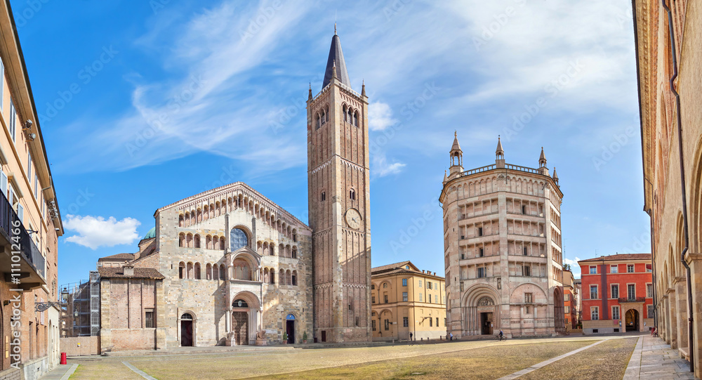 Fototapety, obrazy: Panorama of Piazza Duomo in Parma