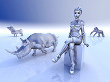 Female Robot And Sculptures Of...