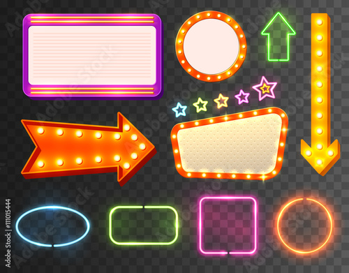 Neon Sign Icon Set