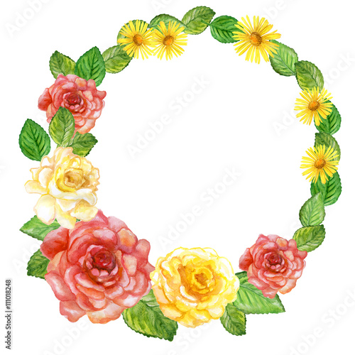 Watercolor Drawing Of Spring Flowers Garden Roses Rose Wreath