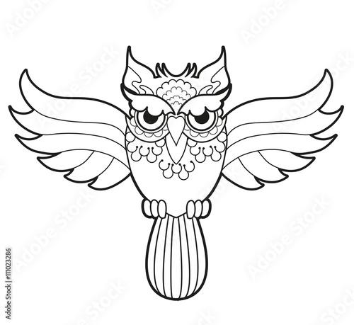 Black and white vector owl for coloring, civetta in bianco e nero ...