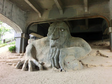 Seattle Freemont Street Troll Underneath A Bridge