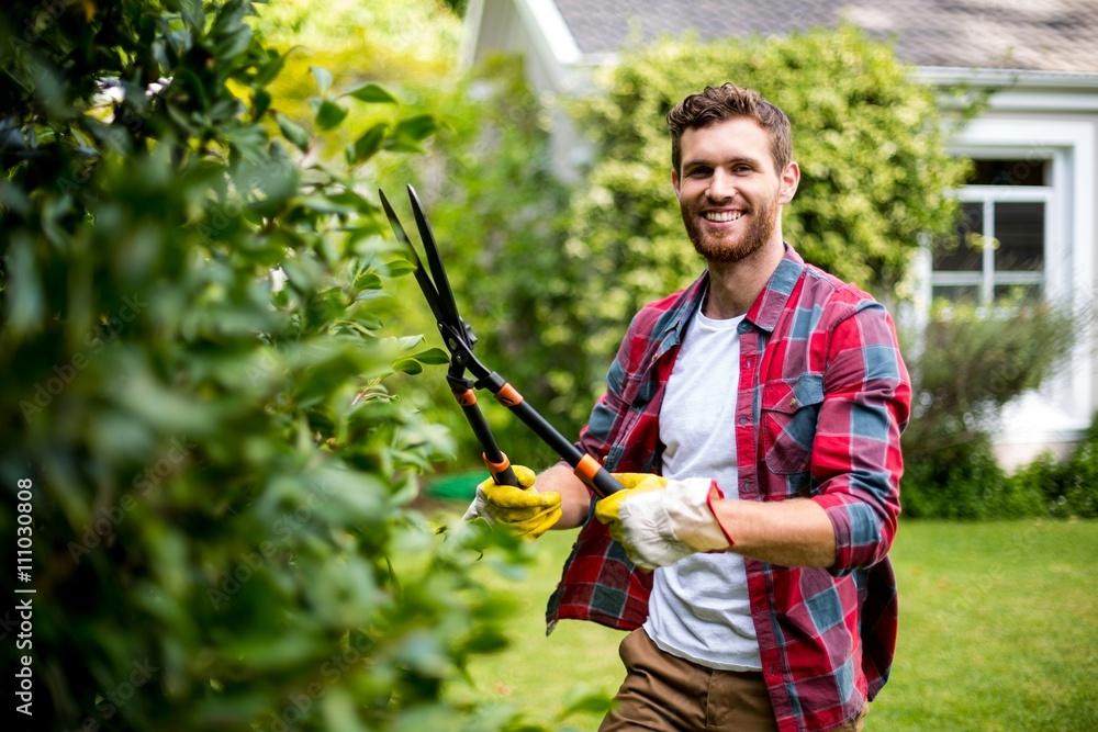 Fototapety, obrazy: Gardener cutting plants