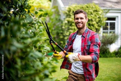 Gardener cutting plants Canvas