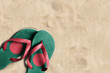Thongs with flag of Bangladesh, on beach sand