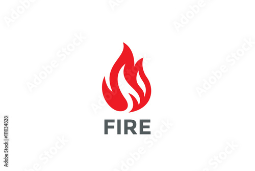 Photo Fire Flame Logo design vector. Bonfire Silhouette Logotype icon